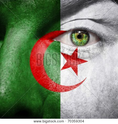 Algerian Flag Painted On A Man's Face