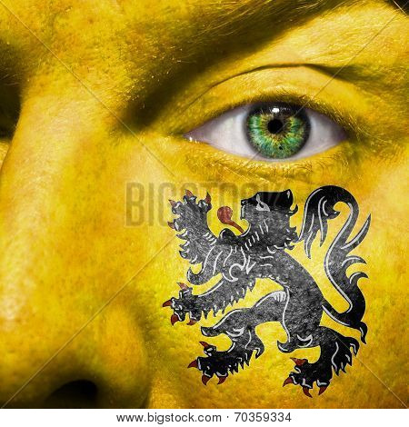 Flemish Flag Painted On A Man's Face