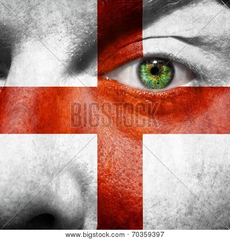 English Flag Painted On Mans Face