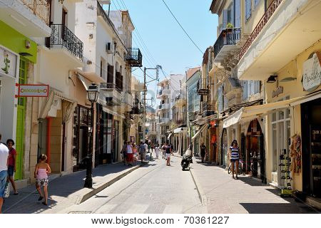 Rethymno, Greece - July 11: Street Arkadiou On July 11, 2013 In City Of Rethymno, Crete, Greece