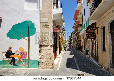 Rethymno, Greece - July 12: Street On July 12, 2013 In City Of Rethymno, Crete, Greece