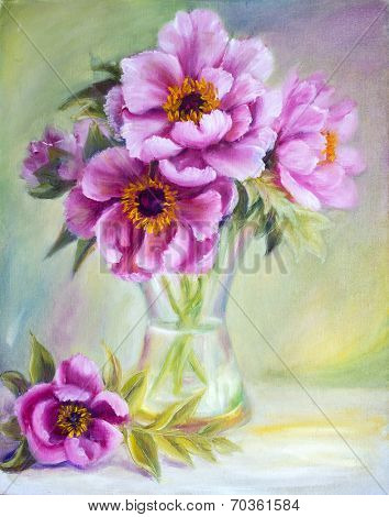 Peonies in vase, oil painting on canvas