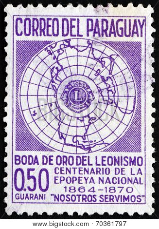Postage Stamp Paraguay 1967 Globe And Lions Emblem