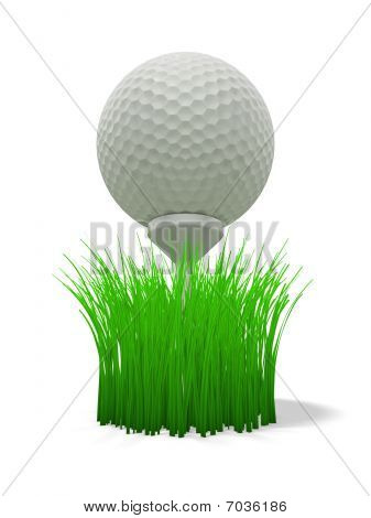 Golf Ball On Tee - With Grass