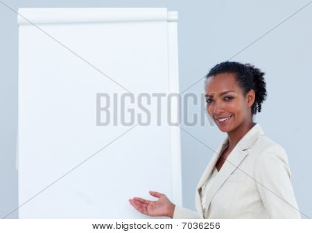 Positive Businesswoman Giving A Presentation