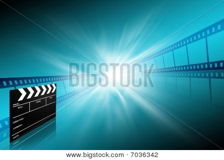 Clap Board Ant Film Strip On Blue Background