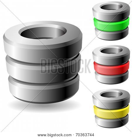 Database 3D vector icon isolated on white background.