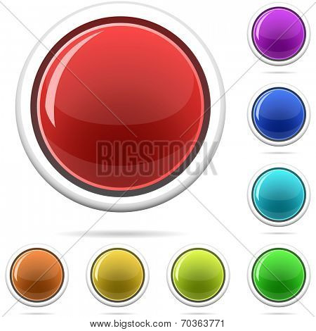 Set of varicolored spherical glossy buttons isolated on white.