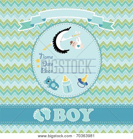 Cute vector card. Newborn boy baby shower
