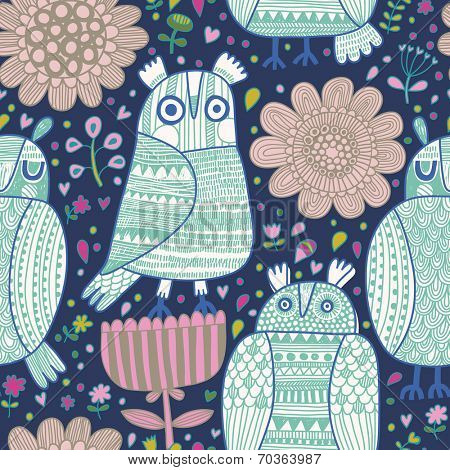 Cartoon funny seamless pattern with cartoon owls in flowers. Seamless pattern can be used for wallpaper, pattern fills, web page background, surface textures.