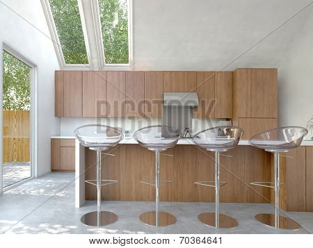 Small compact open-plan kitchen or kitchenette interior with wooden cabinets and a bar counter with four modern modular stools