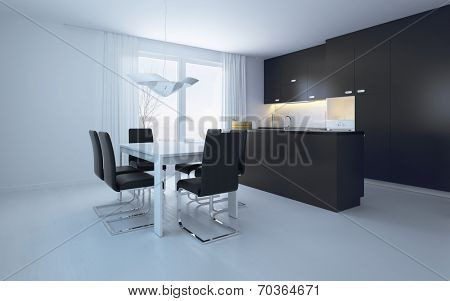 Elegant Black and White Dining Area with Pure Black and White Walls