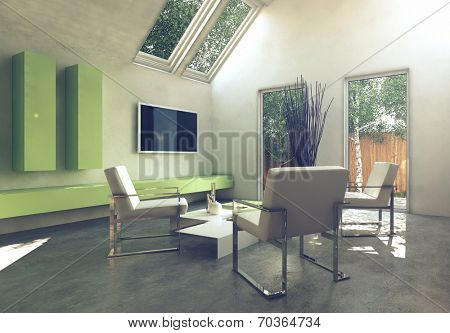 Modern simple cottage living room interior with grouped metal frame armchair around a low table and wall mounted yellow cabinets and television below skylight windows