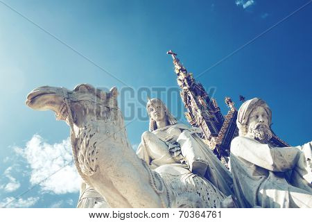Closeup of stone statues at the Albert Memorial in Kensington Gardens, London, UK