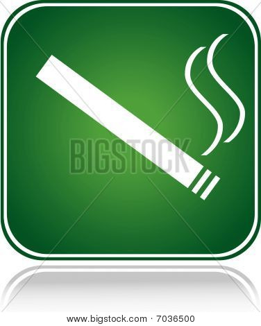 Green square sign smoking area with reflection
