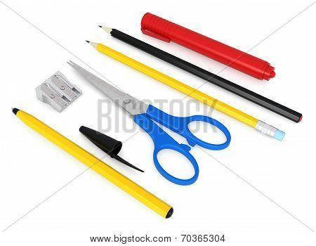 Set Of School Or Office Desk Items