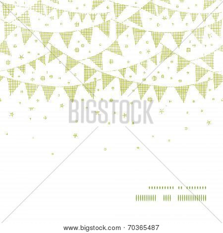 Green Textile Party Bunting Horizontal Frame Seamless Pattern Background