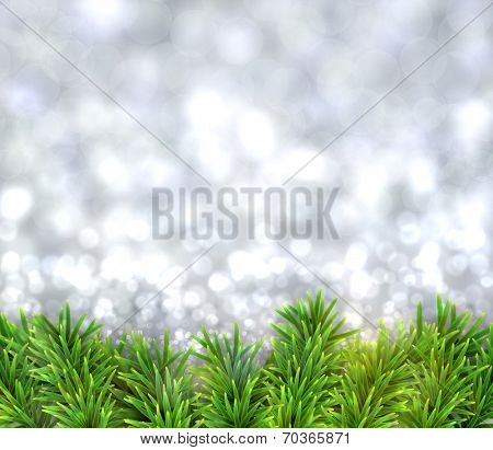 Silver christmas background with fir and snowflakes. Vector illustration.