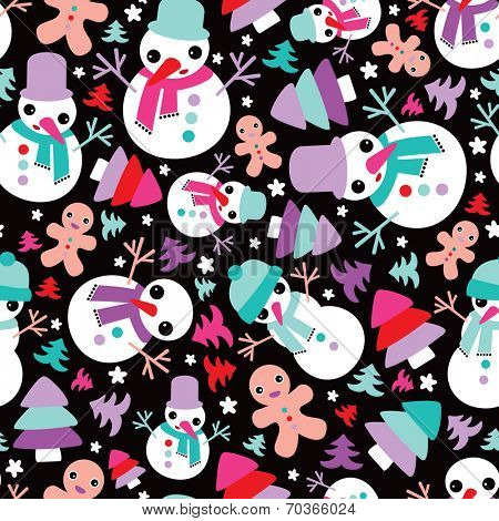 Seamless snow man en ginger bread christmas tree illustration background pattern wrapping paper in vector