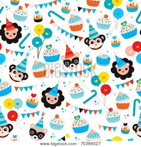 Seamless kids happy birthday boy cupcake garland happy animals and balloons wrapping paper background pattern in vector