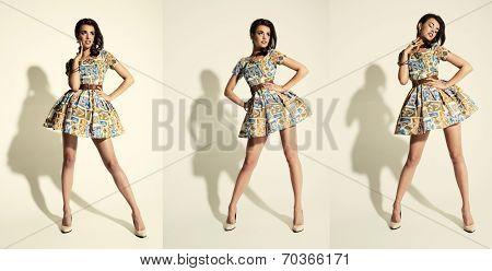 Full Length Of Beautiful Female Posing In Summer Dress. Three Times