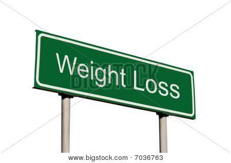 Gewicht-Verlust grün isoliert Straßenschild