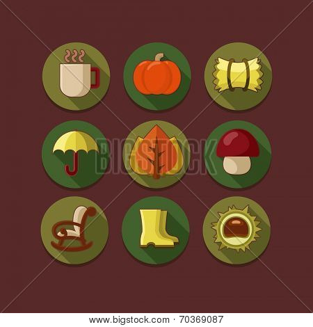 Flat icon set in autumn style