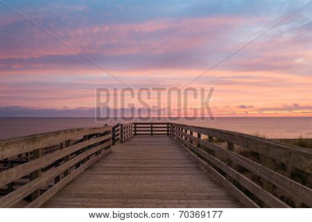 Boardwalk On Beach At The Crack Of Dawn