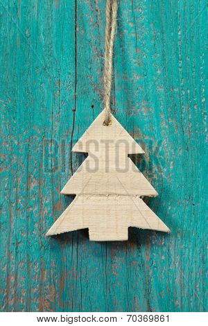 Wooden Christmas Tree On A Old Shabby Board For A Greeting Card