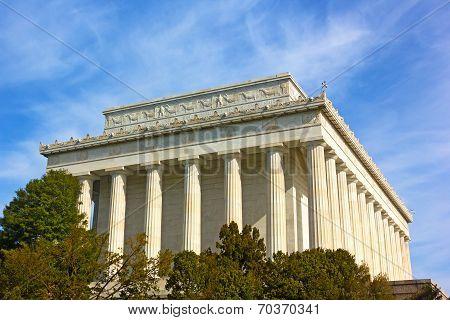 Exterior of Lincoln Memorial in Washington DC USA. Lincoln