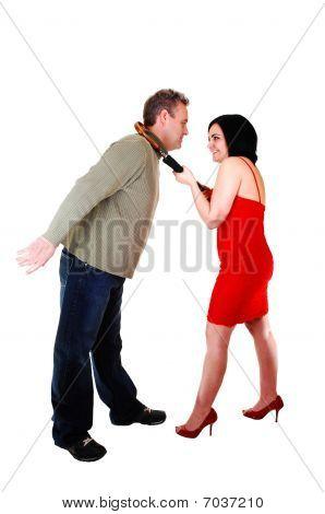 She Is Pulling Her Boyfriend.
