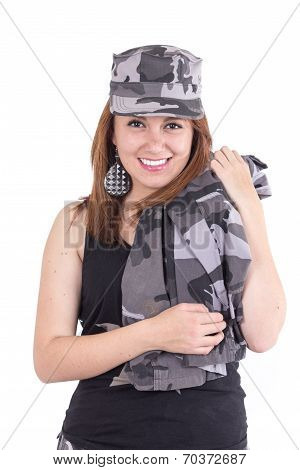 Beautiful young woman posing with gray military uniform