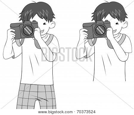 Black And White Sketch Of A Cartoon Guy Character Photographing Woth His Dslr Camera