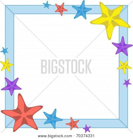 Decorative cyan frame with cartoon starfishes