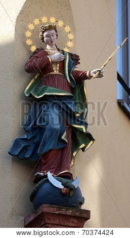 MILTENBERG, GERMANY - 20 JULY: Virgin Mary, statue on the main street of Miltenberg in Lower Franconia, Bavaria, Germany, on July 20, 2013