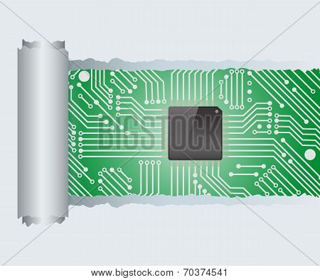 Torn Paper With Electronic Circuit Board