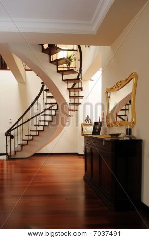 Nice Foyer With Interior Stairs