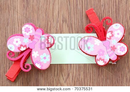 Hairpins Pattern Of Pink Butterfly.