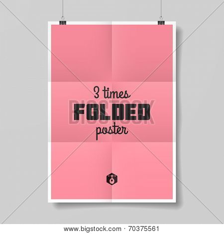 Three times folded poster template. Vector.