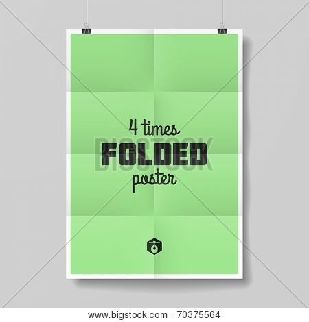 Four times folded poster template. Vector.