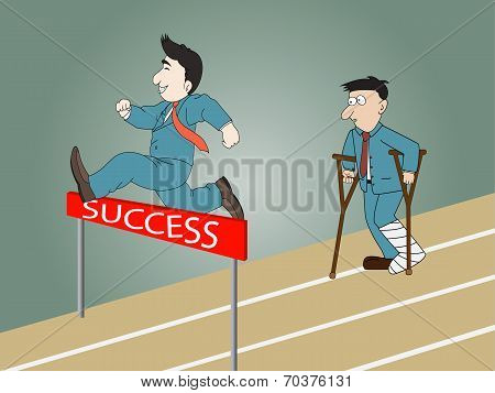 A Man Jumping Over Hurdle And Man Standing Injured