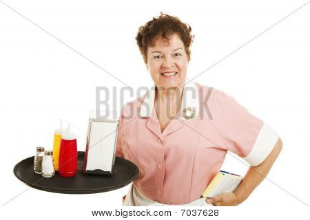 Waitress Cleaning Up