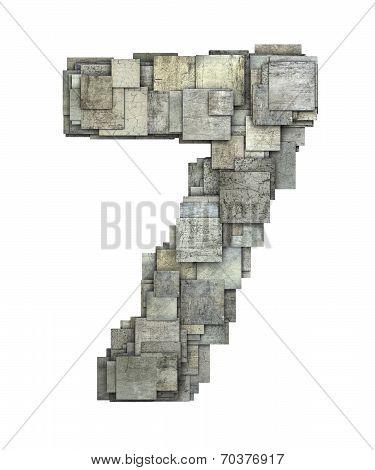 3D Gray Tile Seven 7 Number Fragmented On White