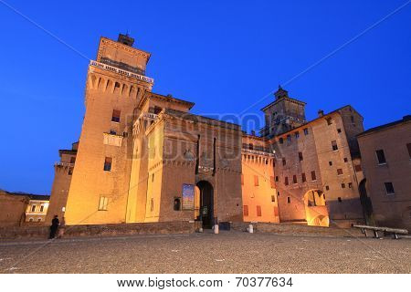 Night view of Castello Estense of Ferrara, Italy