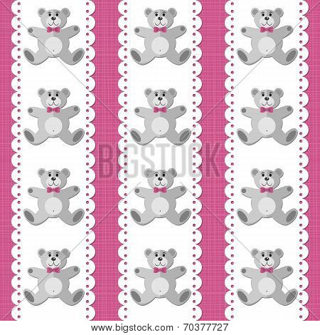 Baby girl toy animal elegant teddy bear on white doily vertical ribbon pattern on pink
