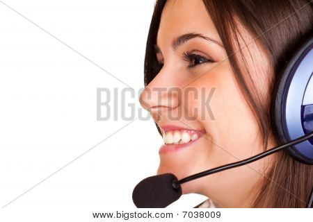 Beautiful Woman Smiling With Headset And Microphone