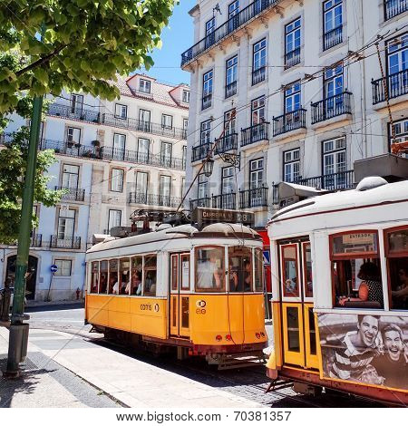 Lisbon, Portugal-May 11: Typical,Tramway on May 11, 2014. Beautiful Tramway in  Lisbon, Portugal, Europe