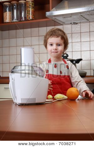 Boy With Food Processor