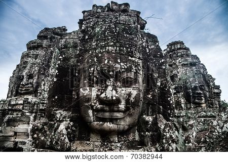 Ancient Stone Statues In Angkor Wat