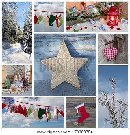 Christmas Winter Collage In Blue And Red Country Style For Greetings